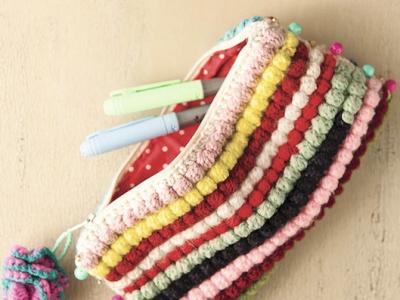 Cómo hacer un estuche tejido a crochet, en punto bobble