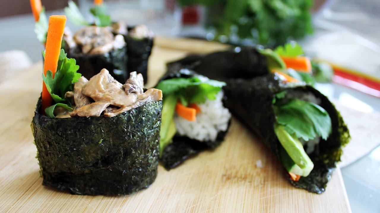 Para un baby shower: sushi de champiñones y cocadas