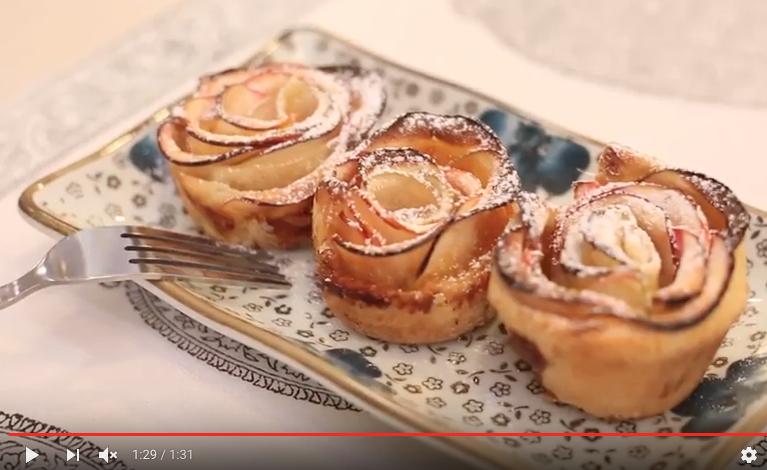 Mini tartas de rosas de manzanas