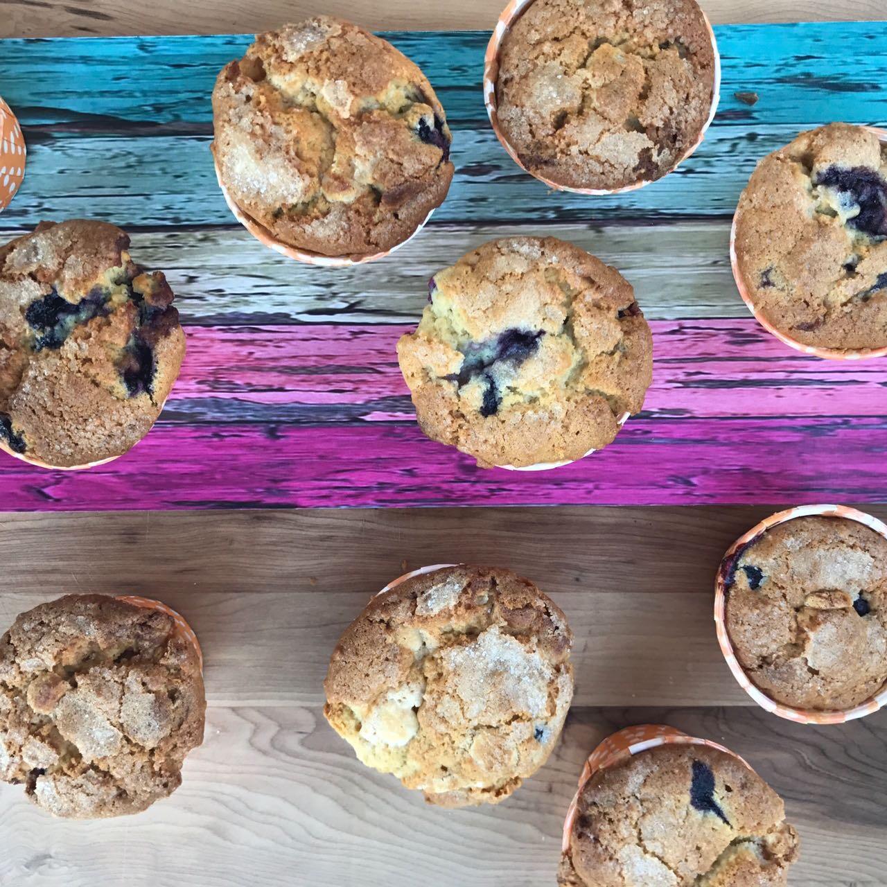 Muffins de arándanos con avena y yogurt