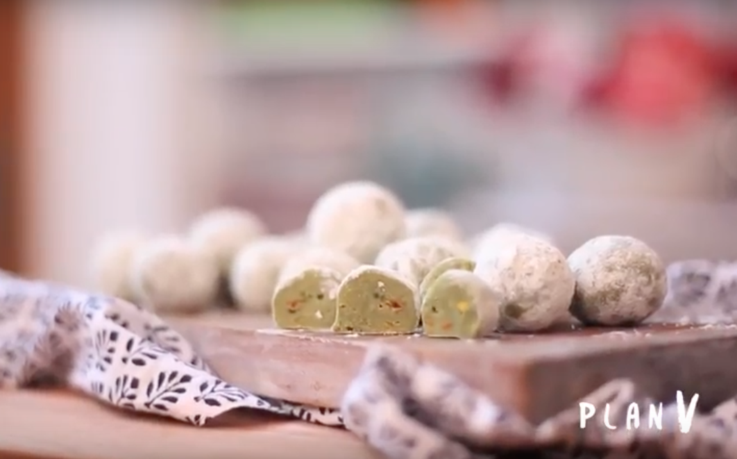 Trufas de té matcha y pistachos