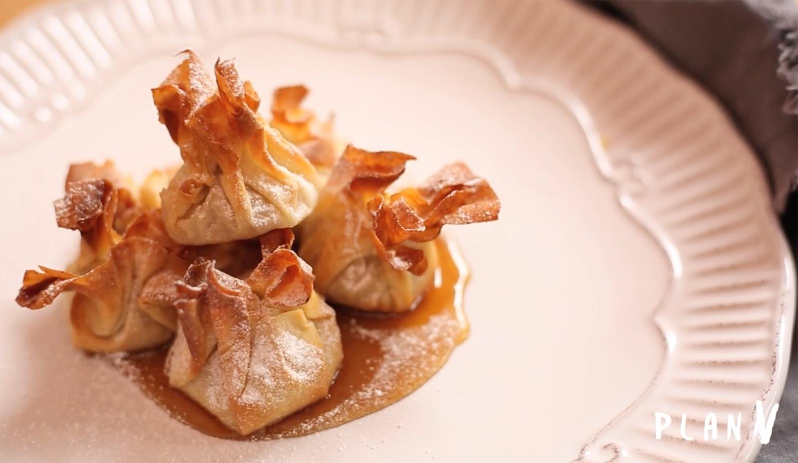 Saquitos de masa philo rellenos con pera