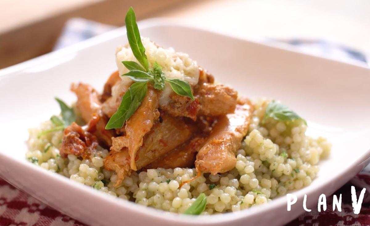 Cous cous cremoso con pollo spicy
