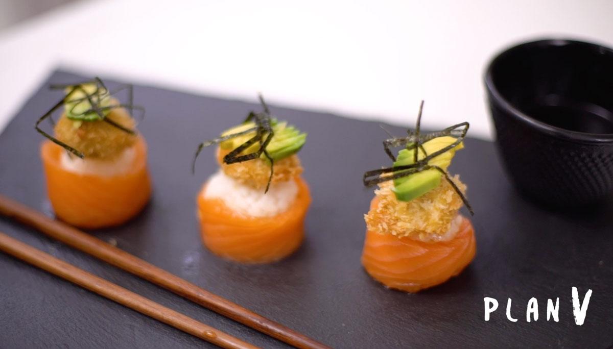 Gunkan de salmón y bombón de champiñón